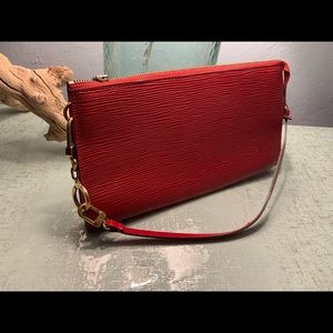 Louis Vuitton Red Epi Leather Pochette Baguette